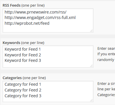 Three RSS feeds, each with an associated keyword and category.
