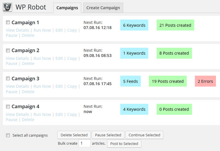 Create campaigns for autoposting different topics or content.